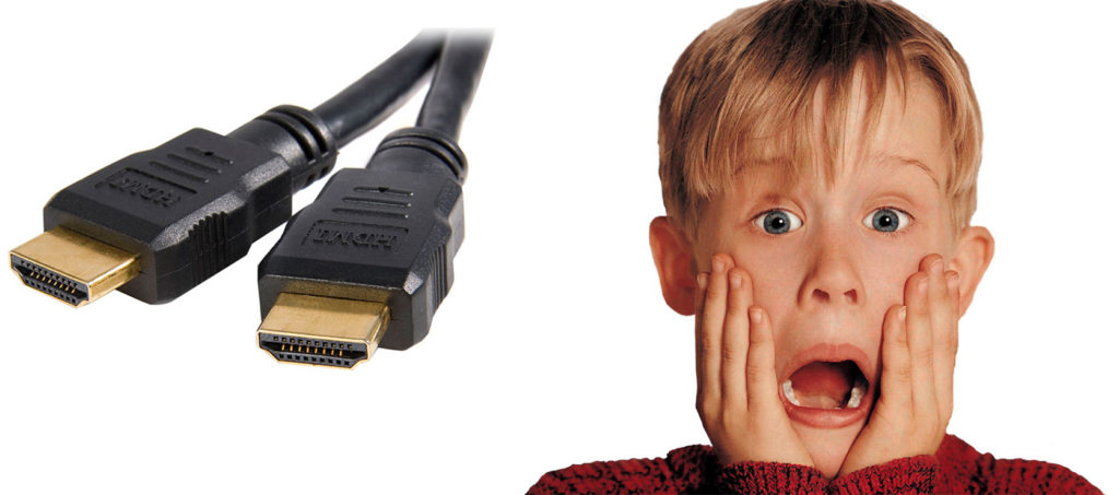 Kevin from Home Alone is horrified by the prospect of using HDMI cables in his conference room.
