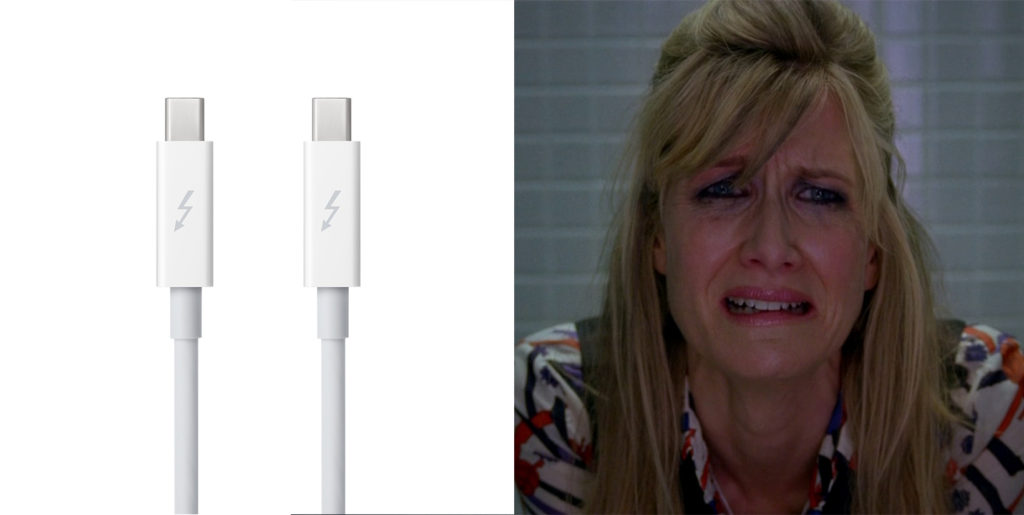 Thunderbolt cables are amazing for transferring huge files quickly, but do they belong in the conference room? Laura Dern fromEnlightened seems to think not.