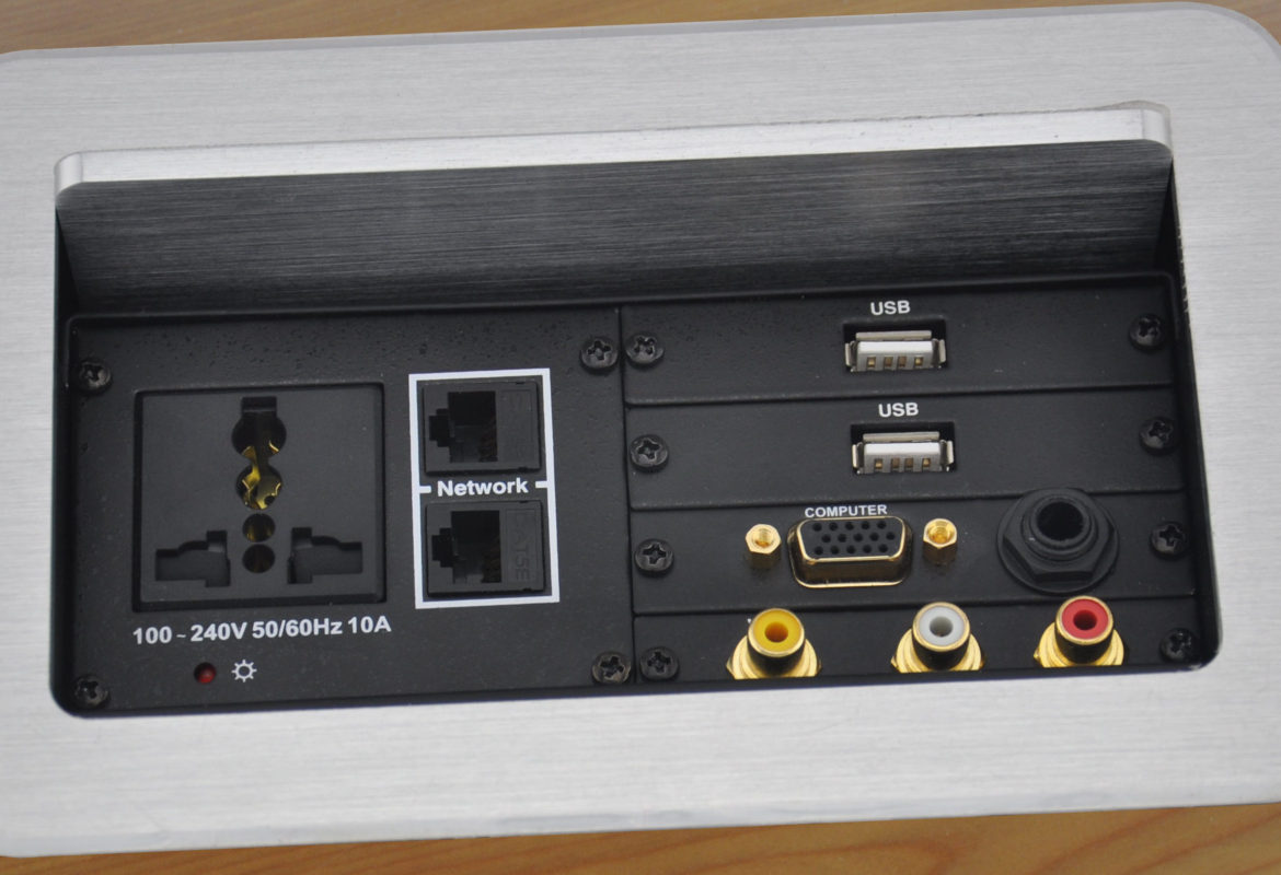 A conference table connectivity box with some (but not all) of the video outputs included on this list.