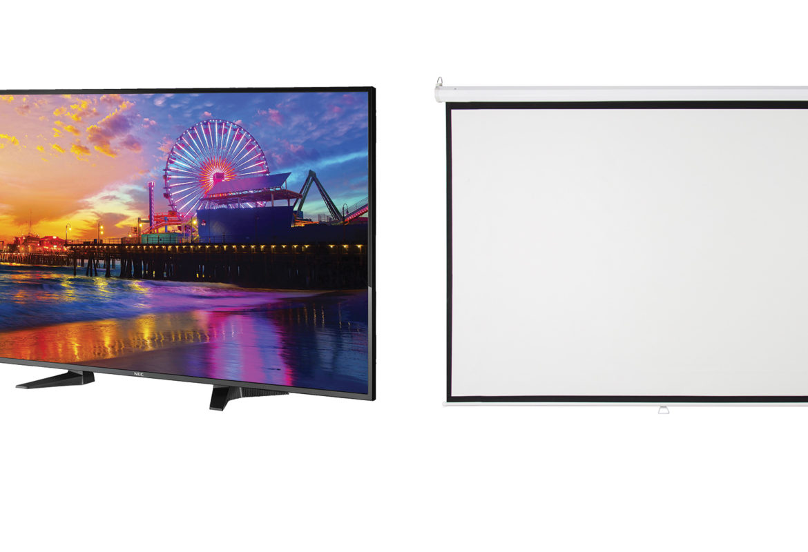 conference room TVs vs. projector screens